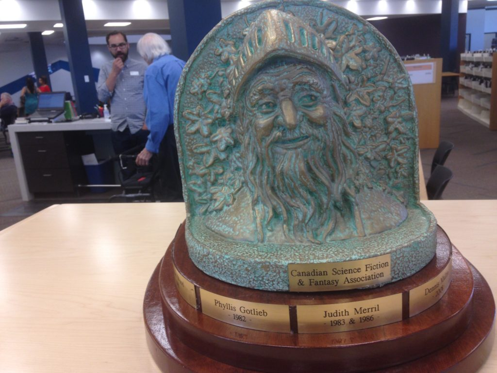 Janus side of the trophy with H.A. Hargreaves and  Jordan Blasetti in background